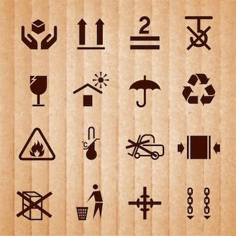 Icone di manipolazione e imballaggio impostate con limiti di temperatura infiammabili senza simboli pila isolati