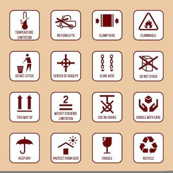 Le icone d'imballaggio e di imballaggio messe con limitazione di temperatura infiammabile nessun simboli di pila vector l'illustrazione