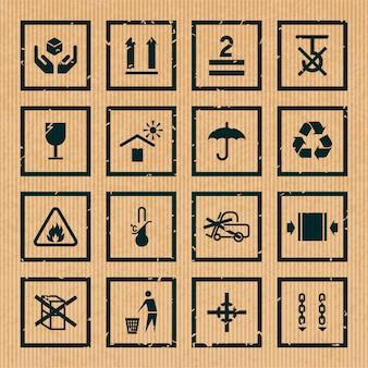 Le icone nere del cartone di simboli di imballaggio e di trattamento messe hanno isolato l'illustrazione di vettore