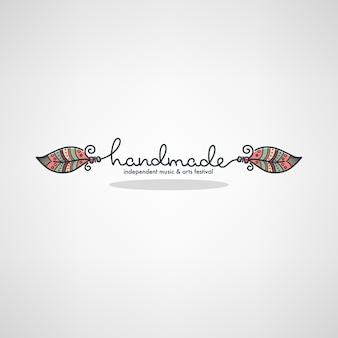 Festival di arte fatta a mano, logo doodle disegnato a mano, etichetta, emblema