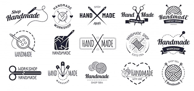Distintivi fatti a mano. distintivo del mestiere dei pantaloni a vita bassa, etichette d'officina d'annata e insieme dell'illustrazione di logo dell'artigianato