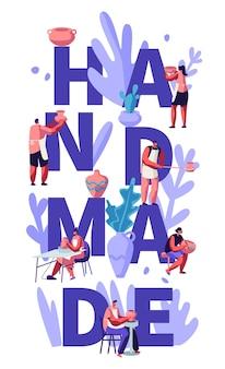 Concetto fatto a mano. personaggi che dipingono, cuociono in forno e decorano pentole, terracotta, stoviglie in ceramica al laboratorio di ceramica, poster, banner, flyer, brochure. illustrazione di vettore piatto del fumetto
