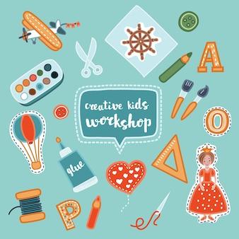 Banner per bambini creativi fatti a mano. banner di processo creativo con applicazione bambino e lavoro manuale per bambini. illustrazione del set di officina