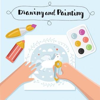 Banner per bambini creativi fatti a mano. banner di processo creativo con pittura bambino e lavoro manuale per bambini. illustrazione Vettore Premium