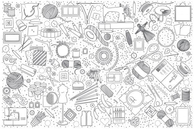 Set di doodle fatto a mano Vettore Premium