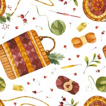 Borse fatte a mano in stile folk acquerello senza cuciture accessori femminili lavorati a maglia