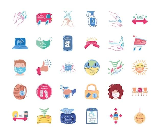Set di icone stile 30 fatto a mano e nuovo normale dettagliato del virus covid 19