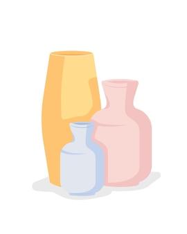 Vasi in ceramica fatti a mano oggetto vettoriale di colore semi piatto. corsi di ceramica. articoli dall'aspetto professionale. il laboratorio di ceramica ha isolato l'illustrazione moderna in stile cartone animato per la progettazione grafica e l'animazione