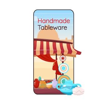 Schermata dell'app per smartphone del fumetto di stoviglie fatte a mano. ceramica artigianale. fiera orientale, bazar. display del telefono cellulare con design piatto. interfaccia telefonica dell'applicazione souk