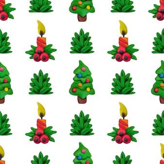 Reticolo senza giunte di plastilina di vettore fatto a mano per natale e felice anno nuovo isolato su priorità bassa bianca. può essere utilizzato per la stampa su tessuto, riempimenti a motivo, trame o carta da regalo e sfondi