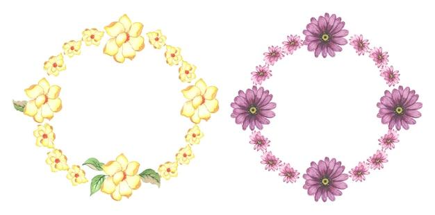 Insieme della corona floreale dell'acquerello fatto a mano
