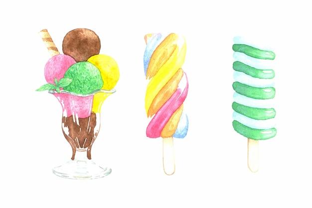 Confezione di gelato ad acquerello dipinto a mano