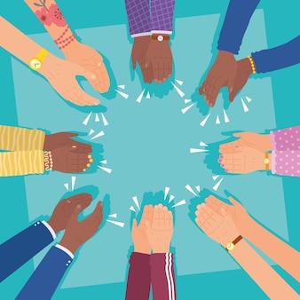 Mani che applaudono cerchio su sfondo blu
