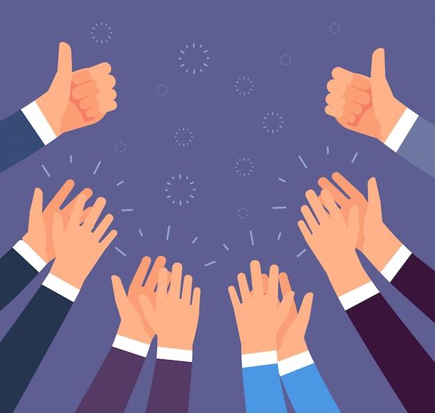 Battere le mani. gesti in su e applausi.