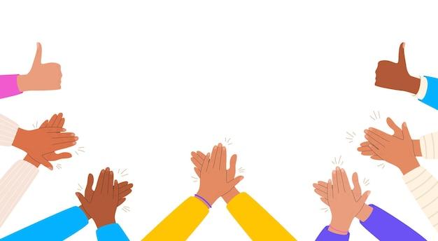 Mani che applaudono con il pollice in alto applausi e congratulazioni per il lavoro riuscito