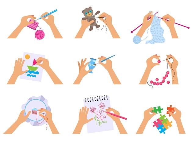 Artigianato a mano. i bambini hanno lavorato a maglia illustrazioni di disegno con pennello e forbici che tagliano carta scrapbooking illustrazione vettoriale vista dall'alto. dipingere, disegnare e schizzi in laboratorio