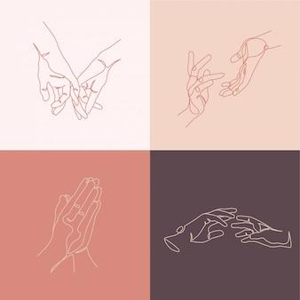 Mani composizioni creative. illustrazioni in stile arte linea minimale.