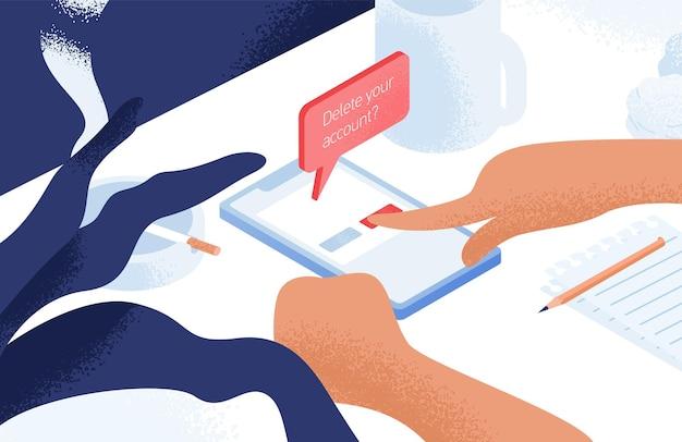Mani che eliminano account dal social network su smartphone sdraiato sul tavolo