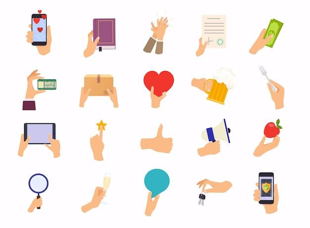 Mani in diverse pose. mescola dispositivo di presa in mano, cibo, denaro concetto di illustrazione moderna.