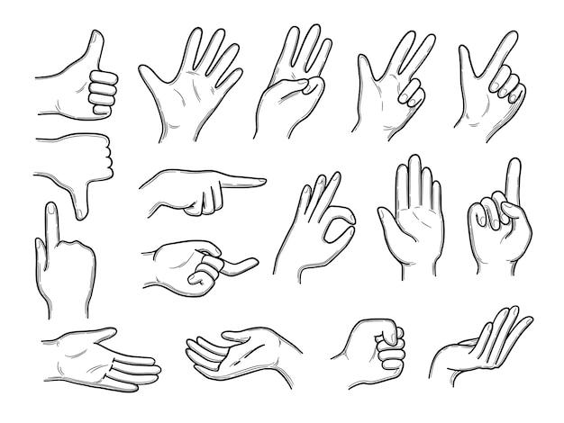 Doodles di mani. gesti di espressione mani umane che puntano agitando stile disegnato a mano di vettore. illustrazione di mano, pollice e palmo di espressione di gesto umano
