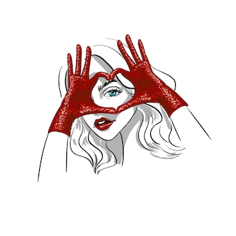 Mani sopra la forma dell'occhio dell'illustrazione dei guanti del cuore