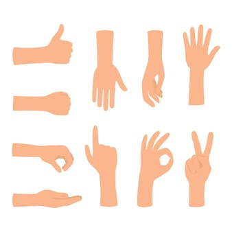 Gesti delle mani isolati su priorità bassa bianca. insieme di gesto della mano colorata