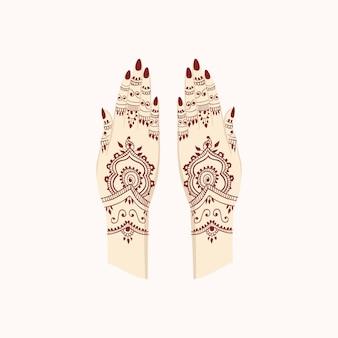 Mani henna mehendi india modelli arabi illustrazione vettoriale arti tradizionali
