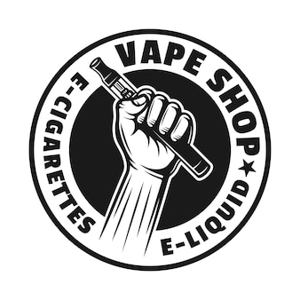 Le mani tengono la sigaretta elettronica o la penna vape vettore monocromatico emblema, distintivo, etichetta o logo rotondo isolato su sfondo bianco