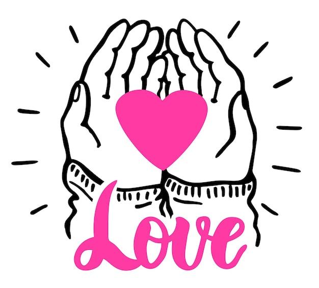 Le mani tengono il cuore cuore san valentino simbolo di vacanza romantica lavoro di beneficenza filantropia sociale