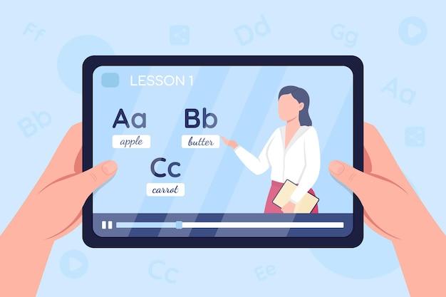 Le mani tengono il tablet con il video sull'illustrazione di colore piatto della classe di apprendimento dell'inglese