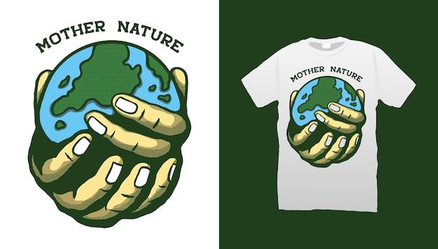 Mani che tengono l'illustrazione della terra