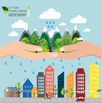 Le mani che tengono la foresta vogliono salvare il concetto del mondo.