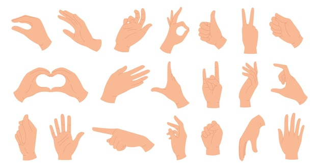 Mani che tengono i gesti. elegante mano femminile e maschile che mostra il cuore, ok, come, indicando il dito e agitando il palmo. insieme di vettore di pose di mani alla moda. segni e simboli del linguaggio del corpo per la comunicazione