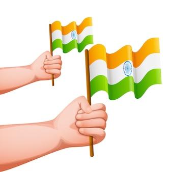 Mani che tengono bandiere india su sfondo bianco.