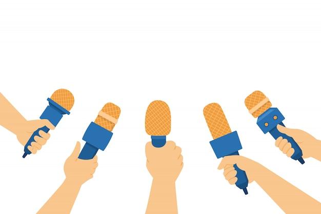 Mani che tengono i microfoni illustrazione piatta