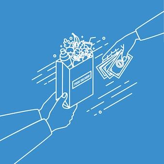 Mani che tengono il sacchetto di carta con frutta e verdura e passaggio di denaro disegnato con linee di contorno