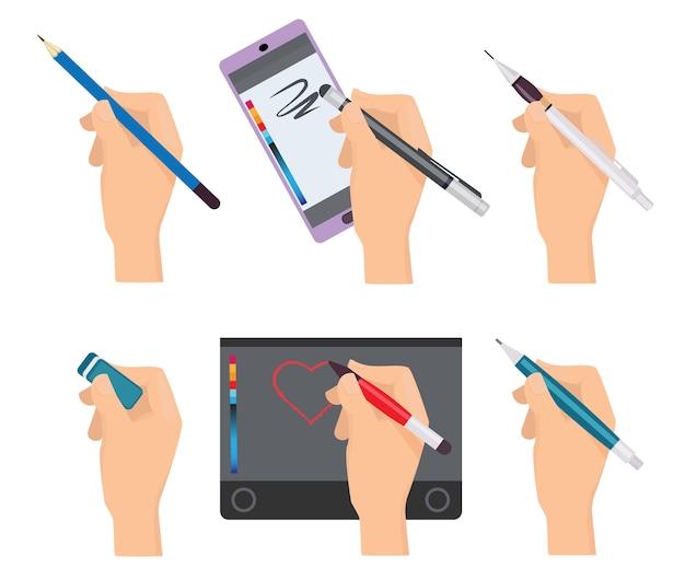 Mani che tengono la penna. articoli di scrittura penne pennarelli strumenti per set di cartoni animati di scrittori. tavoletta grafica a penna, illustrazione di tiraggio della matita