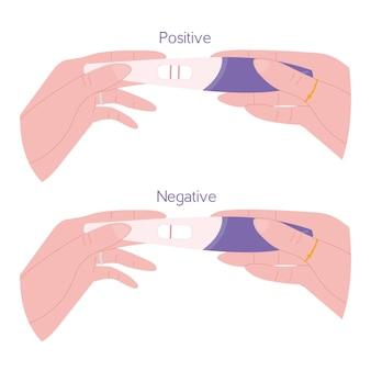 Mani che tengono il test di gravidanza positivo e negativo