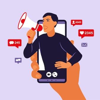 Mani che tengono smartphone con un uomo che grida in altoparlante. influencer marketing, social media o promozione in rete. servizi di promozione di blogger e prodotti per i suoi follower online. vettore.