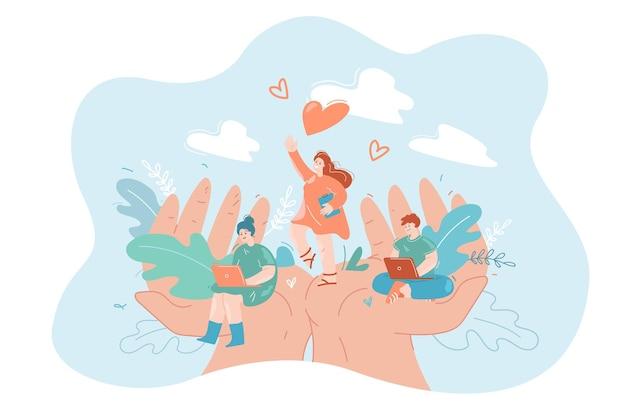 Mani che tengono un team di piccoli dipendenti concetto di sicurezza del lavoro di supporto sociale