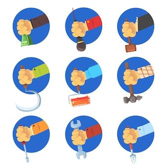 Mani che tengono set di strumenti, equipaggia la mano con il simbolo della professione, lavori avatar illustrazioni su sfondo bianco