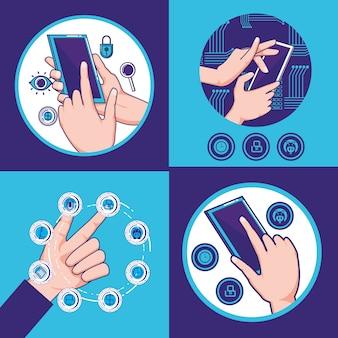 Mani umane con disegno di illustrazione vettoriale icone fintech