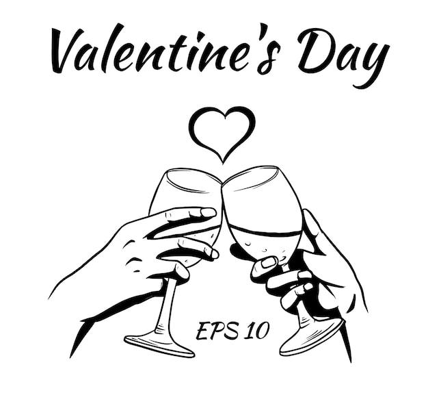Mani di amanti con bicchieri di vino. carta di san valentino.