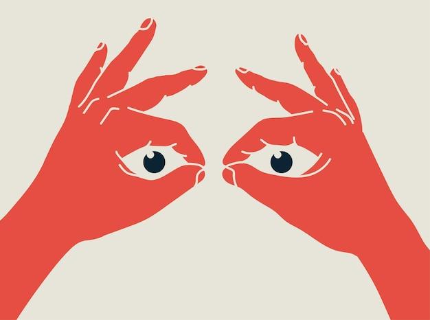 Le mani fanno sì che il binocolo e gli occhi guardino attraverso di loro motore di ricerca o ricerca o ricerca di concetti