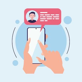 Messaggi con le mani con le icone dello smartphone