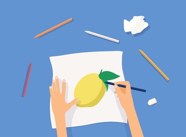 Mani che dipingono sull'illustrazione di carta