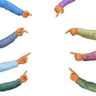 Mani che indicano sul bianco