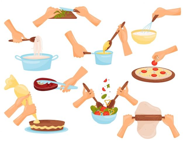 Mani che preparano cibo, processo di cottura di pasta, carne, pizza, pasticceria illustrazione su uno sfondo bianco