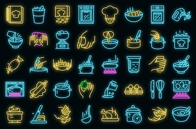 Mani che preparano le icone degli alimenti messe. delineare l'insieme delle mani che preparano gli alimenti icone vettoriali colore neon su nero