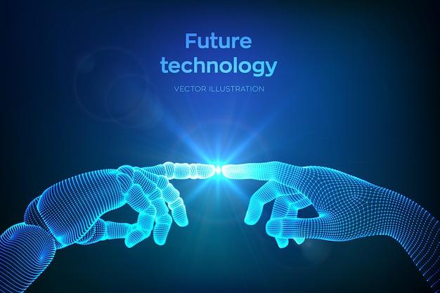 Mani di robot e tocco umano. dito cyborg che sta per toccare il dito umano. simbolo di connessione tra persone e intelligenza artificiale.